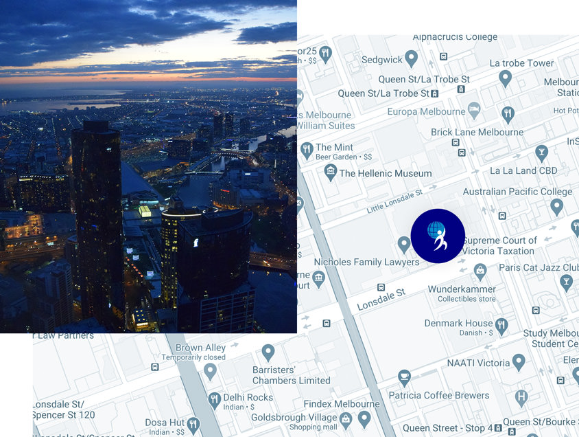 A map displaying the office location of Melbourne Recruitment Agency, Unite Resourcing. Image also displays a photograph of the Melbourne Skyline