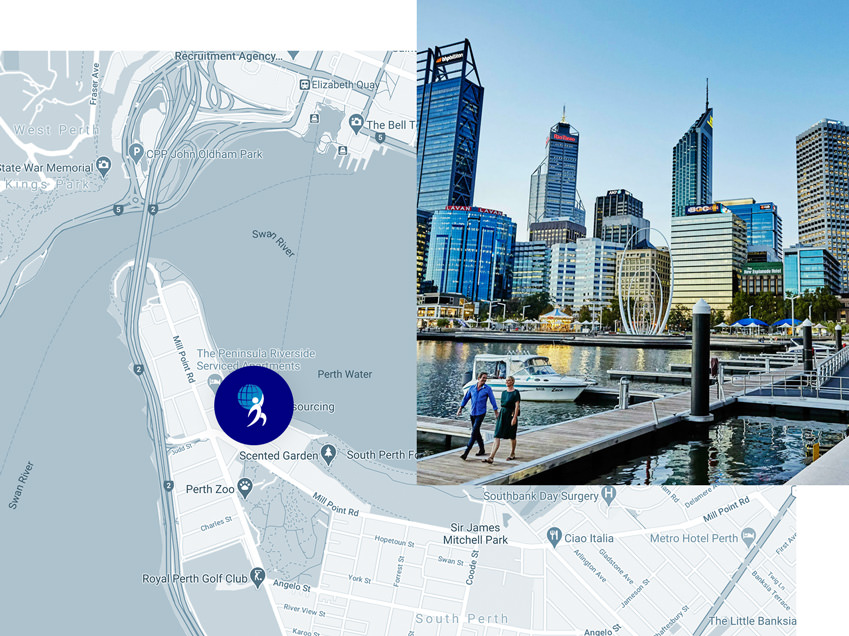 An image displaying a map of Perth showing the office location of Perth Recruitment Agency, Unite Resourcing