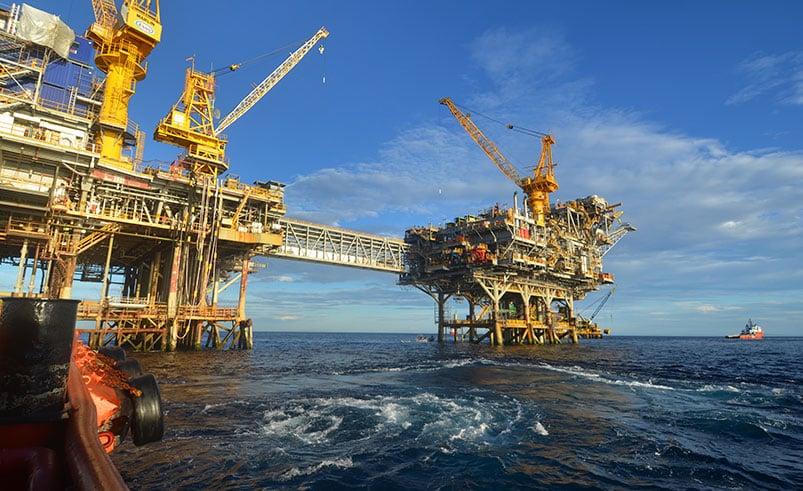 An Oil Rig in the Ocean