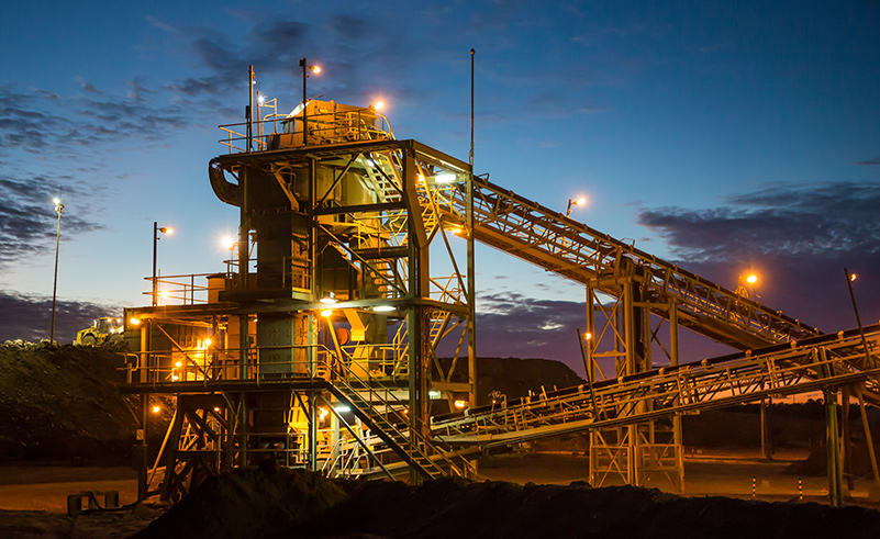 A coal Mine Site in New South Wales Australia at night